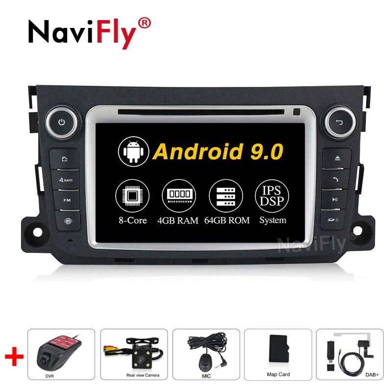 DSP IPS восемь ядер Android 9,0 4G RAM 64G ROM 2din автомобильный DVD GPS плеер для Mercedes/Benz Smart Fortwo 2011 2012 2013 2014