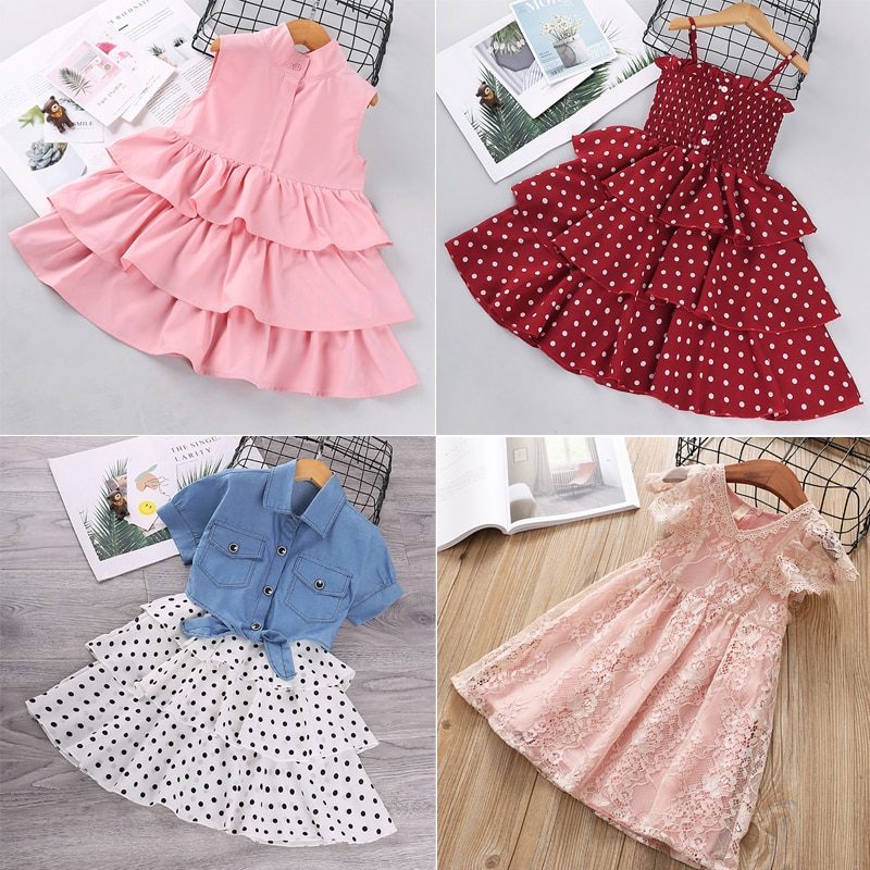 VOGUEON Baby Girls Dresses Summer Dresses Kids Sleeveless Cute Dot Printed Layered Dress Summer Princess Lace Dresses for Girls