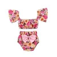 aa toddler baby cute girls fashion flower crop tops t shirtshorts briefs outfits set clothes
