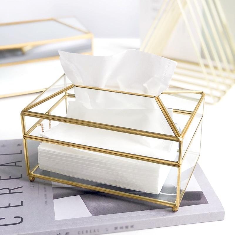 Creative Nordic Glass Tissue Box Metal Tissue Box Holder Gold Luxury Mirror Waterproof Living Room Napkin Box Coffee Table FH027