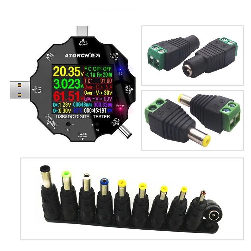 DC5.5 para APP 18 en 1 probador USB 3,0 voltímetro digital de CC cargador de corriente de voltaje amperímetro detector y kits