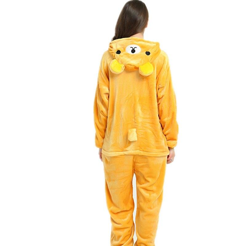 Pijamas bonitos de Kigurumi oso Rilakkuma de manga larga con capucha, pelele para adultos, pijamas de animales para Halloween y Navidad