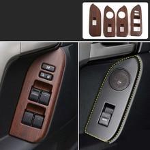 Peach Wood Grain Window Glass Switch Cover Trim for Toyota Land Cruiser Prado 150 2010 2011 2012 2013 2014 2015 2016 2017 2018