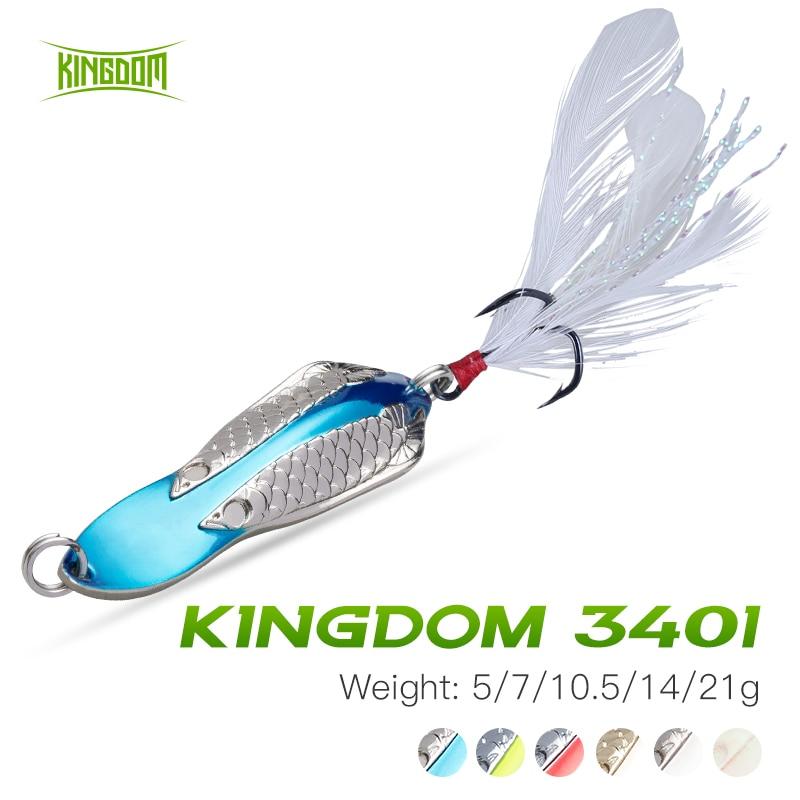 Kingdom Metal cuchara señuelo 5/7/10.5/14/21g Spinner de agua salada señuelo con plumas gancho hundimiento de lentejuelas para cebo de pesca de carpa