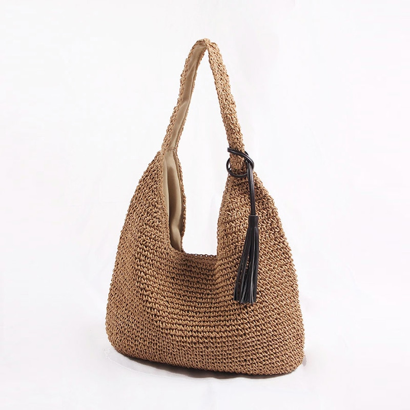 New Tassel Big Capacity Straw Women Shouldder Bags Casual Solid Bohemia Beach Tote Bags For Women Fringe Straw Woven Women's Bag