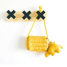 Wood Rabbit Storage Hook Clothes Hanging Solid Wood Row Hook Geometric Cross Design Household Hook