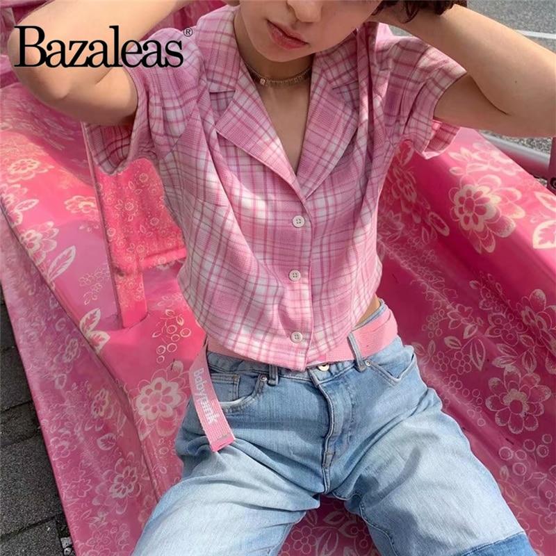 Bazaleas harajuku Turn Down Collar t shirt Cute Tartan White Pink Crop Top Fashion Center Buttons tshirt Women T-shirt gothic