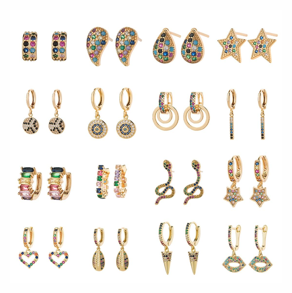 Fashion Women Micro Paved CZ Stud Earring Classic Circle Rainbow Copper Earrings Star Geometric Design Crystal Tassels Jewelry