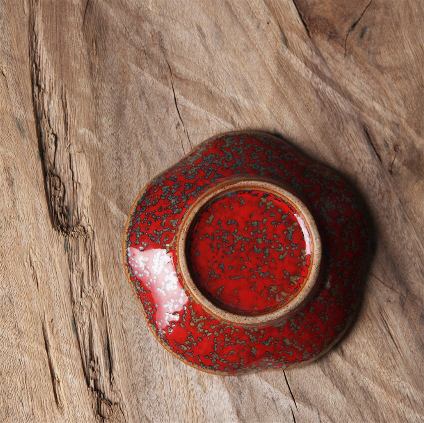 Knead by hand 9.5x2x5.5cm Quality Magic red JDZ china Hard ceramic kung fu tea set saucer pottery fashion european coffee saucer enlarge