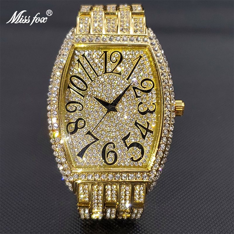 MISSFOX الفاخرة الذهب ساعة كبيرة للرجال الجليد خارج Tonneau الهاتفي كامل الماس ساعات كوارتز اكسسوارات أنيقة للرجل بالجملة