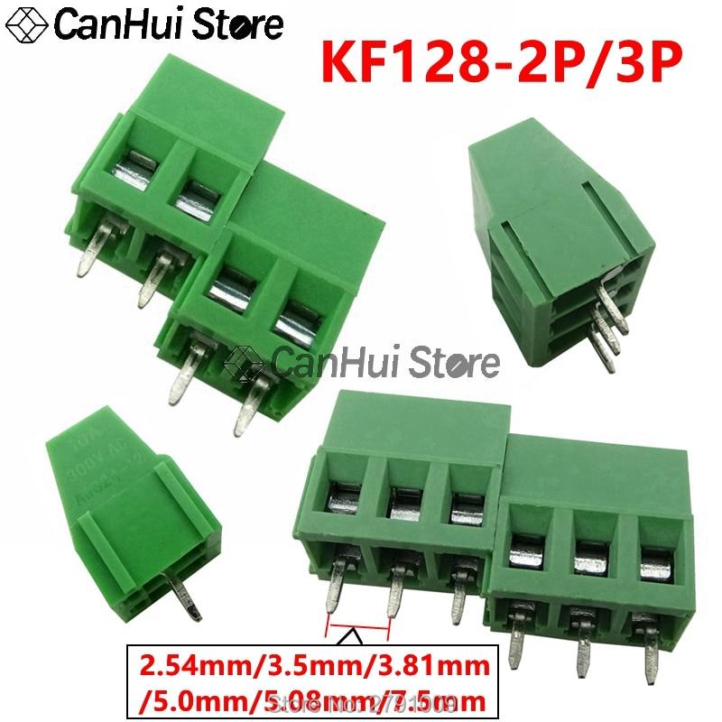 10 terminais KF128-2P/3p 2pin 128- 2.54/3.5/3.81/5.0/5.08/7.5/300mm do pwb do passo blocos terminais do parafuso conector v 10a 22-12awg