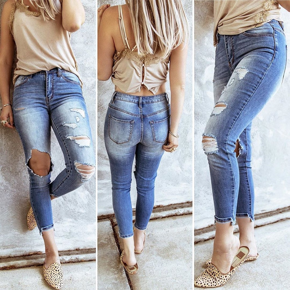 Tight fitting High Waist Ripped Jeans For Women Fashion Trendy Stretch Casual Denim Pencil Pants S-2XL