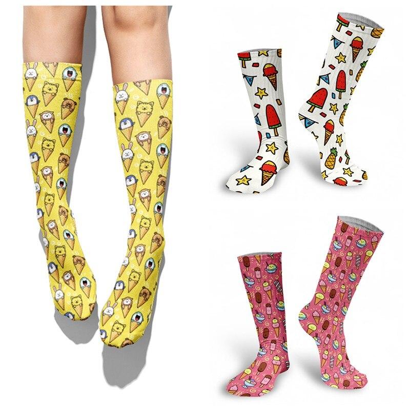 Забавные носки для мороженого, женские носки-чулки, модные длинные носки для закусок, пирожных, Мультяшные носки, мужские носки-чулки