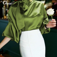 Celmia Plus rozmiar satynowa bluzka kobiety 2020 modny Top elegancki OL muszka szyi latarnia rękaw koszula biurowa Casual Blusas Mujer 5XL