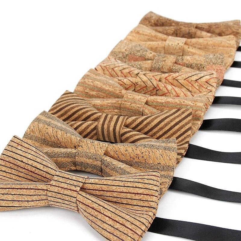 2020 marke Neue Männer Vintage-Mode Striped Plaid Kork Holz Fliege Für Mann Luxus Elegante Hochzeit Shirts Bowtie schmetterling