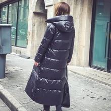 Moda negra con capucha 90% plumón de pato blanco Casual 2020 invierno cálido chaqueta ajustada mujer de talla grande Extra larga Parka sobretodo