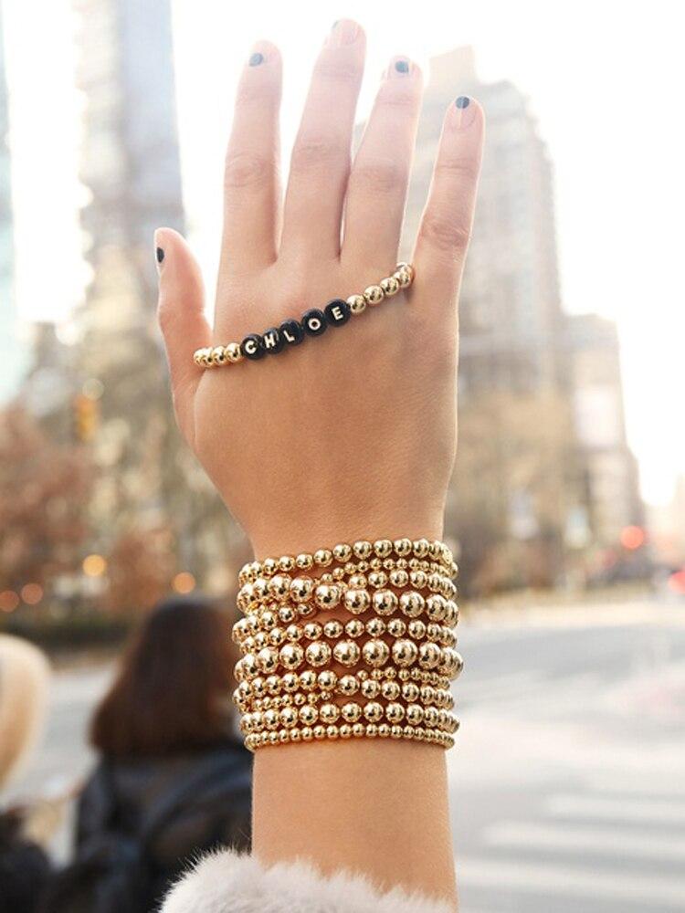 ZFYIN Multi Layering 4mm,6mm,8mm,Stacked Gold Ball Beaded Strand Bracelets Set for Women