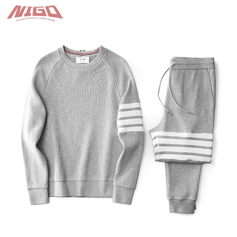 NIGO TB Waffle Loose Sports Casual Sweater Pants Suit Code@TB6