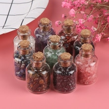 1 pçs pedra de cristal natural pedra cascalho que deseja garrafas minerais ásperos espécime mini pedra reiki cura presente com uma caixa