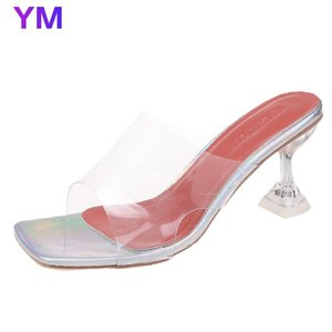 2021 Luxury Women Pumps Transparent High Heels Sexy Peep Toe PVC Slip-on Wedding Party For Lady Brand Thin Heels Fashion Shoes