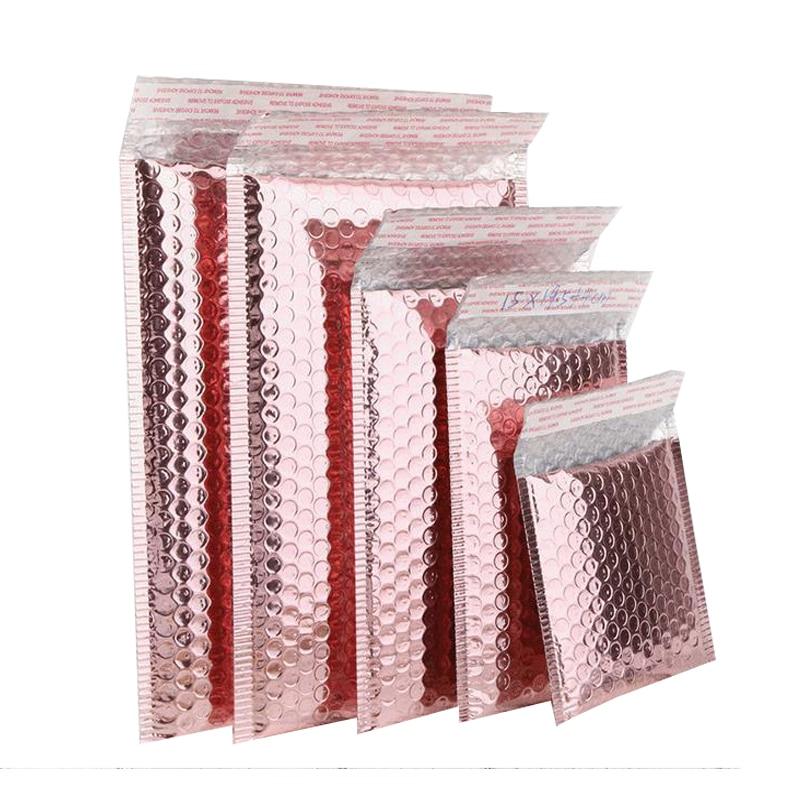 20 шт., розовое золото, металлические Пузырьковые почтовые пакеты из фольги, алюминиевые почтовые пакеты, подарочная упаковка, мягкие конвер...