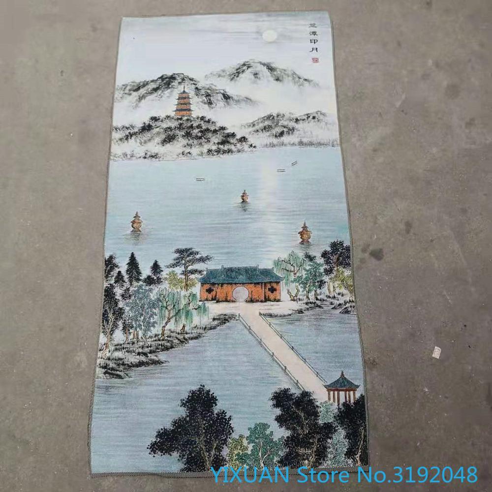 Santan yinyue oeste lago cenário thangka brocado ouro pano de seda bordado artesanato antigo