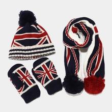 Boys Girls Winter Hat Scarf Gloves Three Pieces Set Outdoor Keep Warm Kids Ski Hat Scarf Sets Thick