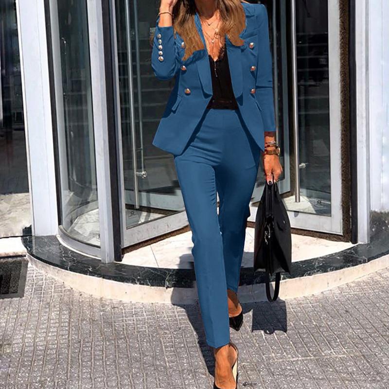 Women Jacket Blazer Suit Fashion Casual Ladies Solid Color Two Piece 2021 Autumn Winter Office Wear