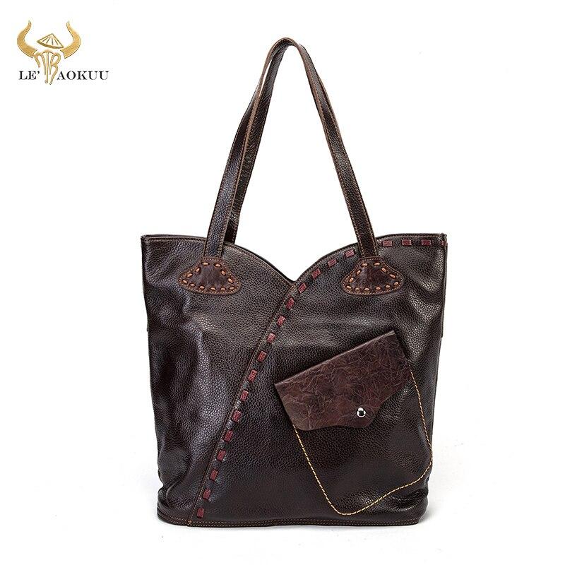 حقيبة يد نسائية جلدية أصلية فاخرة ، حقيبة تسوق كبيرة ، حقيبة كتف ، أنيقة ، 26 ، 100%