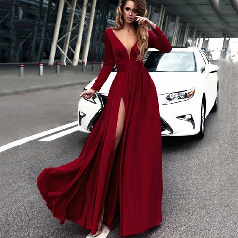maid of honor dresses for weddings bridesmaid party dresses for women long prom dress graduation dresses back of bandage a line 2018 Sexy Deep V-neck A-line Bridesmaid Dresses Dark Red Side Split African Bridal Prom Dress Party Gowns Maid Of Honor Dress