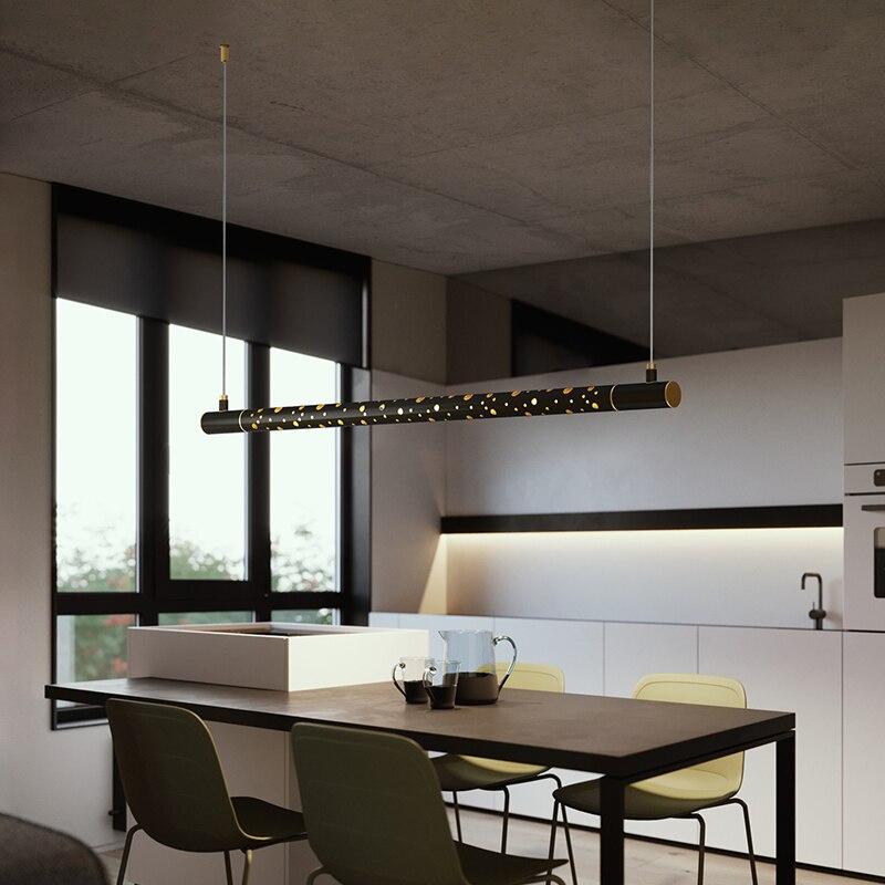 Minimalist Modern Nordic LED Chandelier Dining Room Island Long Hanging Lights Copper Luxury Kitchen Restaurant Coffee Fixtures