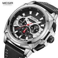 MEGIR Casual Leather Quartz Watches Men Luxury Top Brand Chronograph Watch Man Relogio Masculino Military Sport Wristwatch 2128