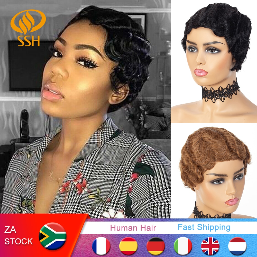 Short Finger Wave Cheap Wigs For Women Remy Real Hair Pixie Cut Wig Short Human Hair Wigs Machine Made Mix Color 1B,2# 27# 99J#