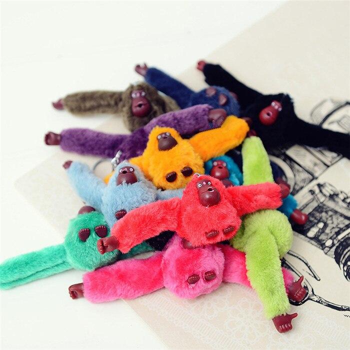 Llavero Cadena de juguete de peluche de mono de piel de imitación Rex bonito de moda Colgante animal bolso de mujer llavero para coche con borla regalo de fiesta