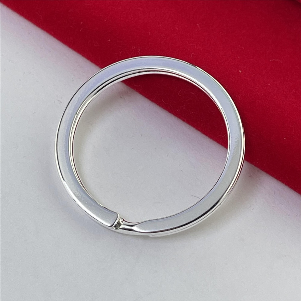 925 Silver Keychain Circle Shape Simple Keychain Fashion Jewelry Gift