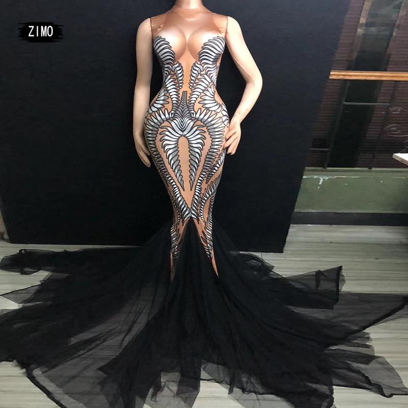 Новинка Черное длинное платье с принтом для выступлений растягивается, для танцев дня рождения праздника наряд для ночного клуба вечерние ...