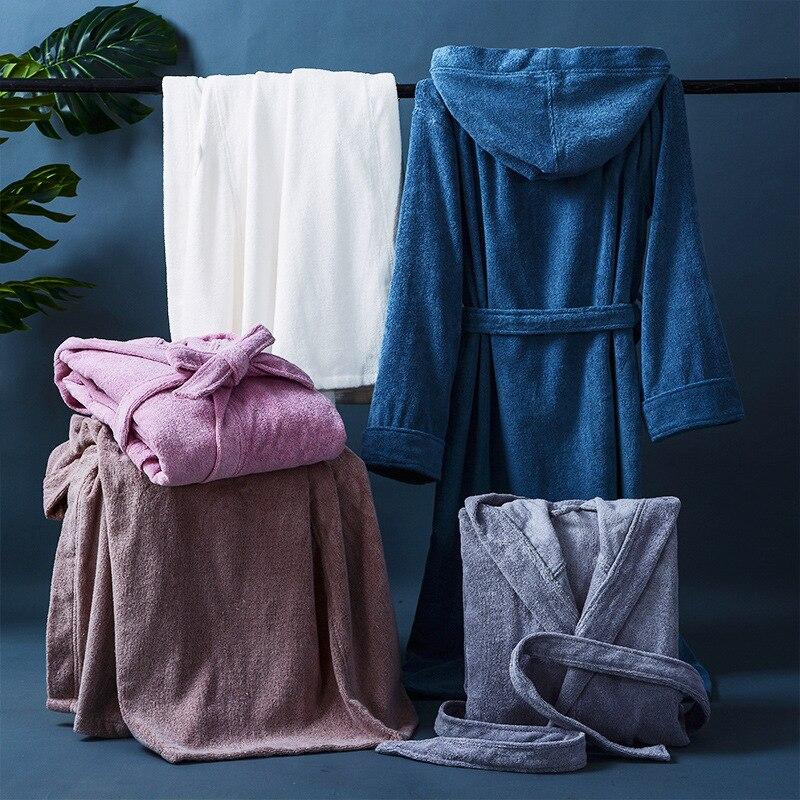 Зима махровый халат женщины мужские полотенце халат большой и высокий полотенце халат мужской махровый ткань ванна халат сна кимоно халат халат