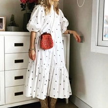 Women Long Shirt Dress Lantern Half Sleeve White Girls Dresses Dot Print Stand Collar Ruffle Button