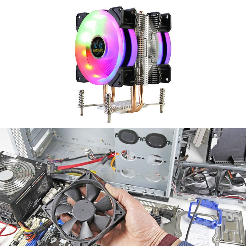 LANSHUO CPU Kühler Extrem Leise Kühler Fan 2 Wärme Rohre RGB CPU Kühler für LGA 2011 X79 X99 X299 (4Pin Dual Fan)
