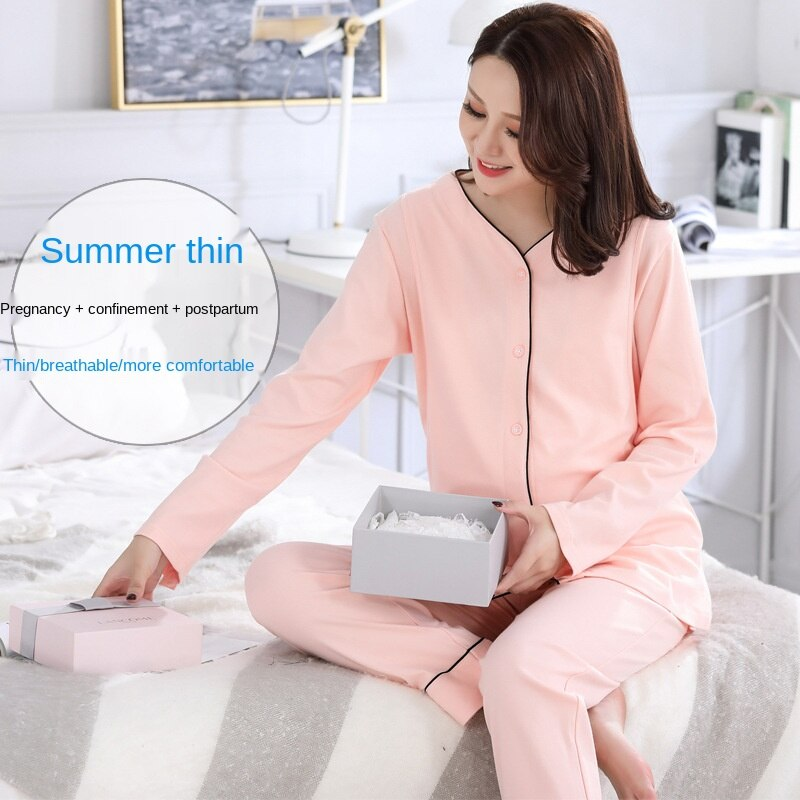 New Cotton Confinement Clothing Spring and Summer Thin Breastfeeding Clothing Sweat-absorbent Breathable and Maternity Homewear enlarge