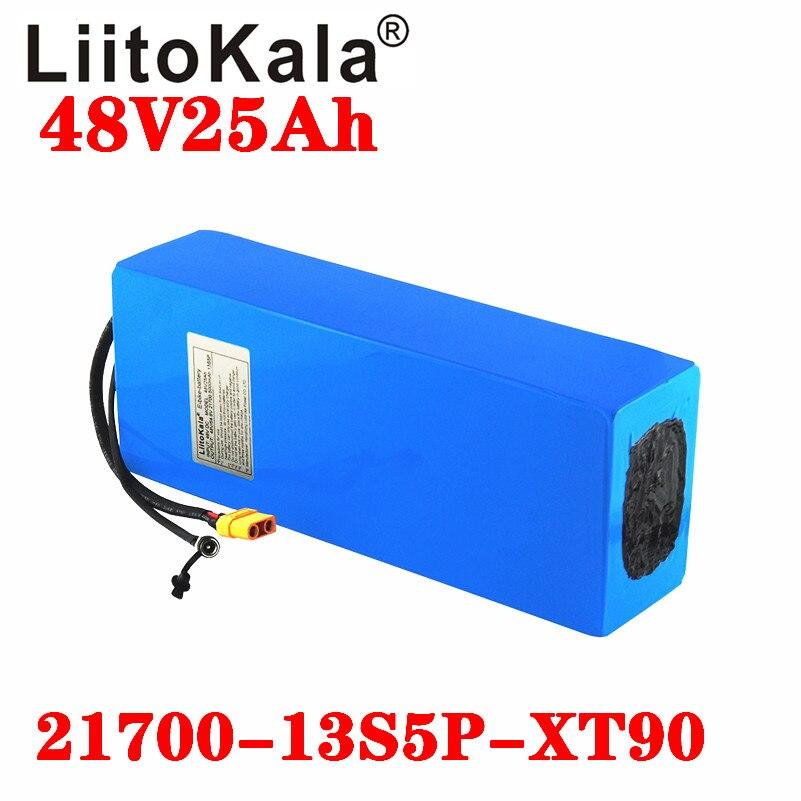 LiitoKala 48V 25ah 21700 5000mAh 13S5P Paquete de batería de litio de 48V 25AH 1000W bicicleta eléctrica de la batería en 20A BMS T XT90 macho