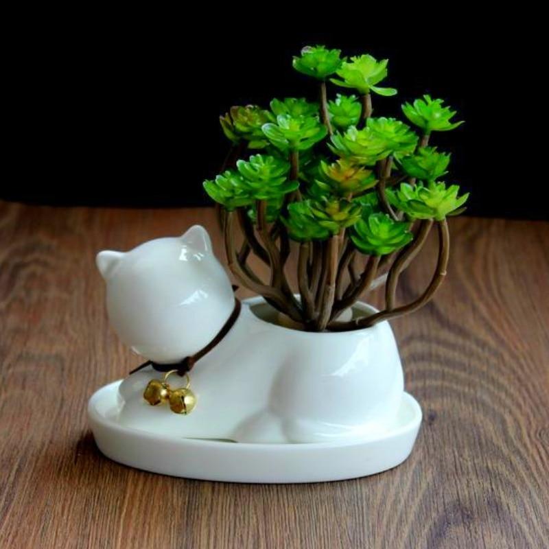 Cute Cat Shape Flower Pot Planter Bonsai Gardening Potted Desktop Ceramic Vase Home Office Decor Garden Supplies Succulent Pot