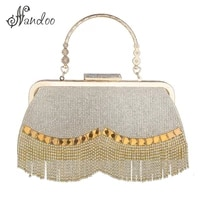fashion womens wedding clutch bag luxury rhinestone tassel handbags banquet gold evening bags party purse chain shoulder bags