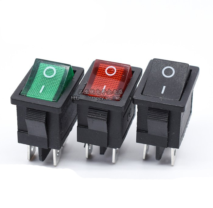 Interruptor de barco basculante KCD1 de 20 unids/lote, 4 pines, 4P, 6A, 250V, rojo, verde, negro, 21x15mm