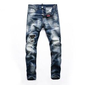 2021hot European Style mens dsqua brand  Men straight denim trousers jeans Slim Paint printing blue hole zipper jeans for D2men