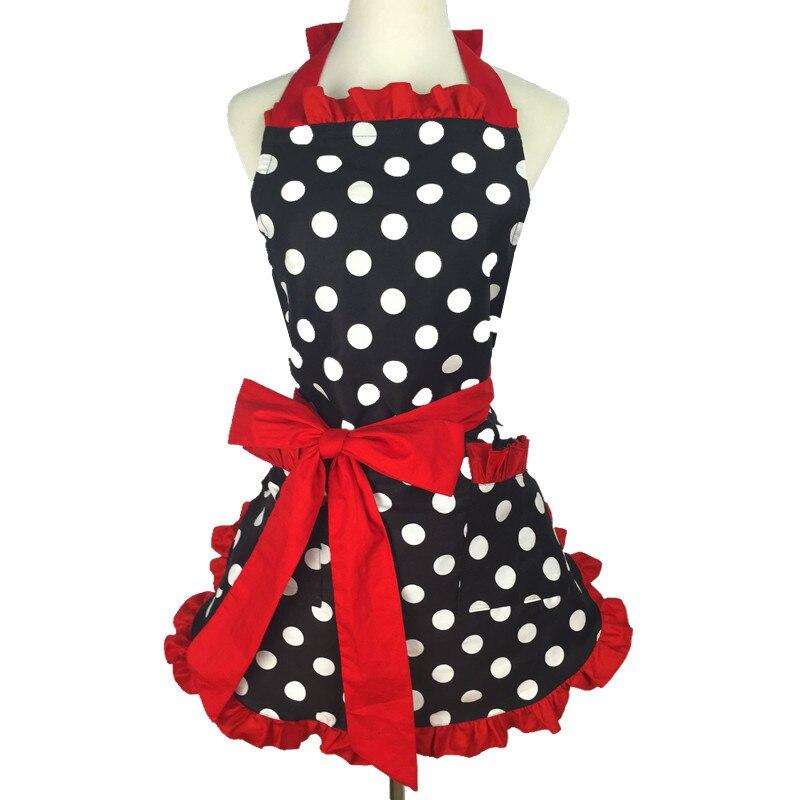Красивые фартуки для кухни для женщин и девушек, красные хлопковые фартуки в горошек в стиле ретро для кулинарии, винтажные фартуки, платье ...