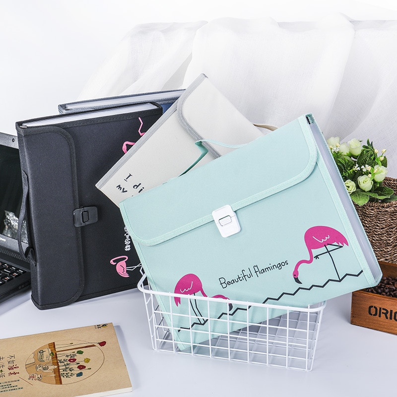 A4 File Folder Cute Flamingo Expanding Wallet Box 13 Layers Document Bag Large Storage Filing Products  Fichario Padfolio Case