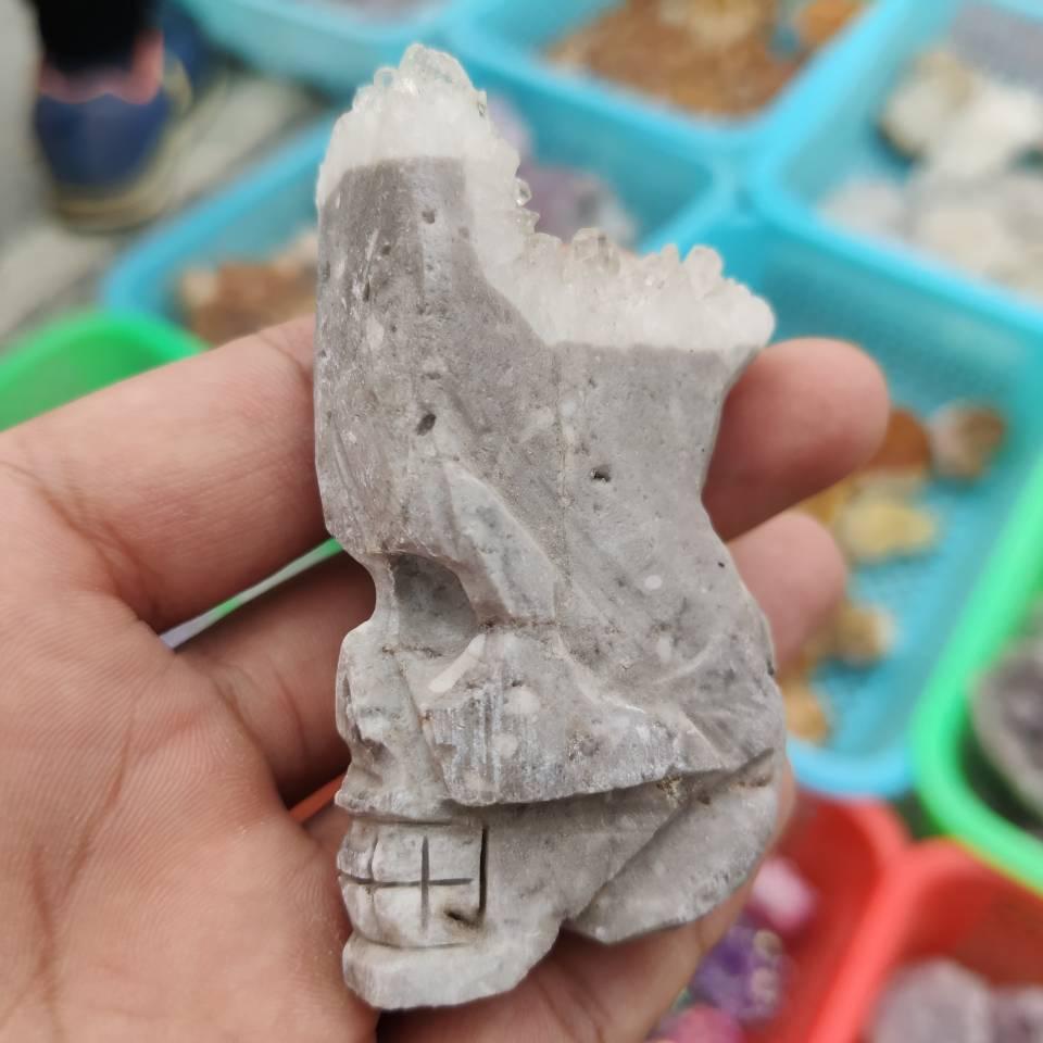 1 pçs claro cristal de quartzo chyrsanthemum cluster handesculved crânio espécime