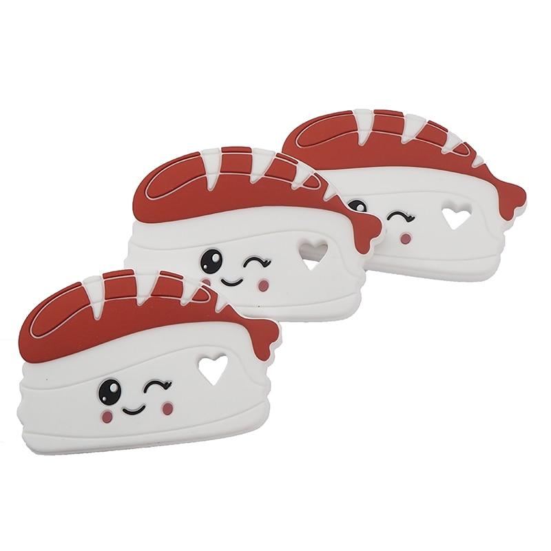 Chenkai, 10 Uds., colgante de mordedor de silicona de salmón para Sushi, libre de BPA, para bricolaje, bebé, juguete de chupete sensorial suavizante, accesorios