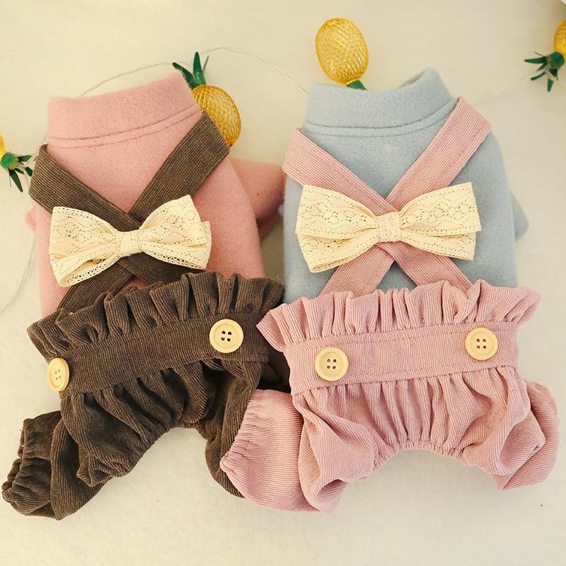Moda linterna cuatro patas pantalones monos para niñas perros arco lindo babero perro ropa otoño e invierno cálido perro gatos ropa